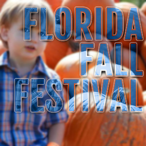 boy in front of pumpkin with words Florida Fall Festivals promoting fall festivals in florida