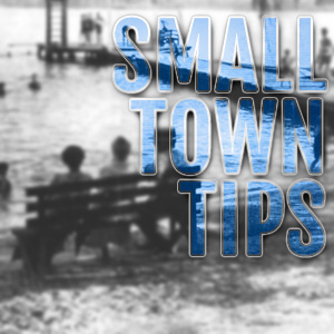 black white picture of people in keystone heights beach with words small town tip promoting small town tips in keystone heights