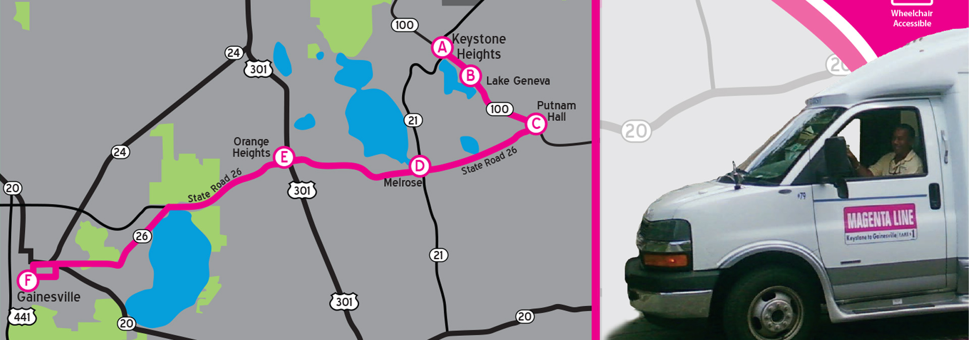 magenta keystone heights bus with map