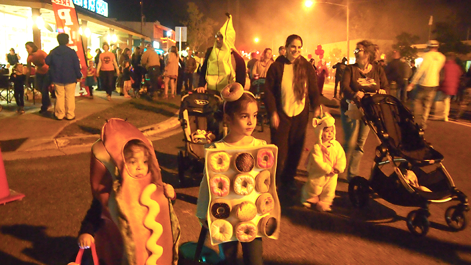 Crowds walking downtown during Halloween Keystone Heights