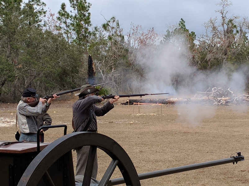 Reenactment of civil war fighting