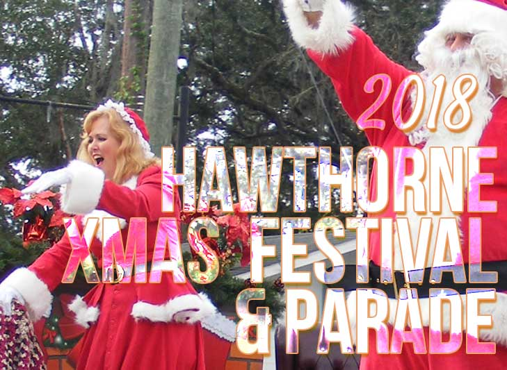 santa and mrs. claus waving during hawthorne christmas parade festival 2018