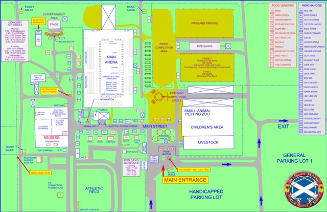 event map for northeast florida scottish games & festival