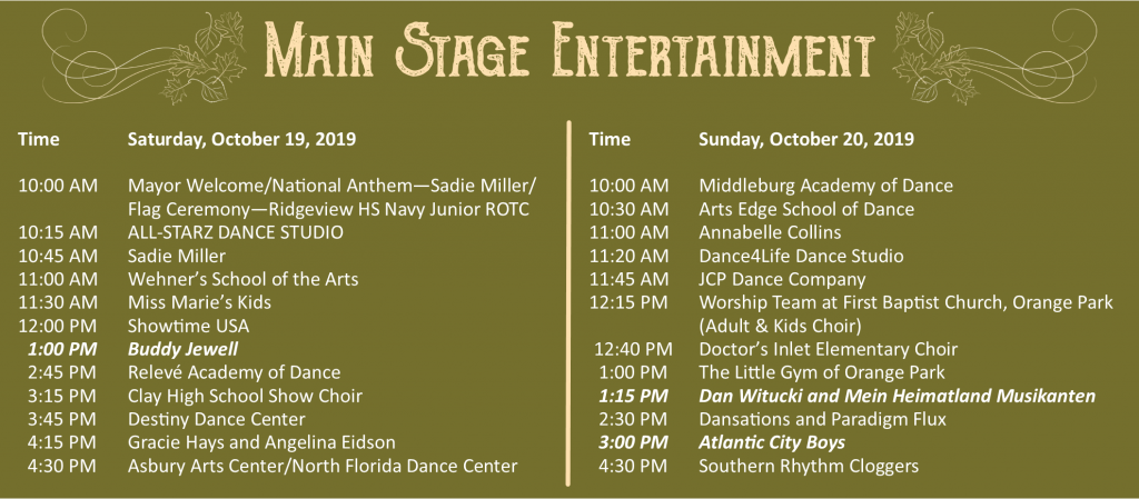 Orange Park Fall Festival Main Stage Entertainment